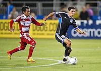 SANTA CLARA, CA - July 18, 2012: San Jose Earthquake midfielder Shea Salinas (6) during the San Jose Earthquakes vs  FC Dallas match at the Buck Shaw Stadium in Santa Clara, California. Final score San Jose Earthquakes 2, FC Dallas 1.