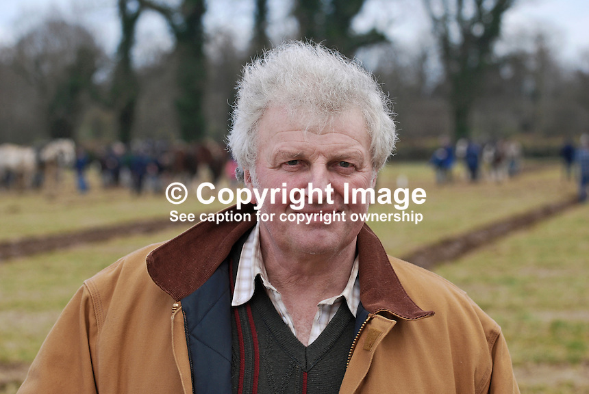 Derek Thornton, Florencecourt, Enniskillen, Co Fermanagh, tv personality, farmer. Taken 28 February 2009 at 95th annual ploughing match of Mullahead & District Ploughing Society, Co Down, N Ireland, UK, 200902281930..Copyright Image from Victor Patterson, 54 Dorchester Park, Belfast, UK, BT9 6RJ..Tel: +44 28 9066 1296.Mob: +44 7802 353836.Voicemail +44 20 8816 7153.Skype: victorpattersonbelfast.Email: victorpatterson@mac.com.Email: victorpatterson@ireland.com (back-up)..IMPORTANT: If you wish to use this image or any other of my images please go to www.victorpatterson.com and click on the Terms & Conditions. Then contact me by email or phone with the reference number(s) of the image(s) concerned.
