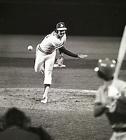 Oakland A's closer Rollie Fingers delivers a pitch..1973 photo by Ron Riesterer