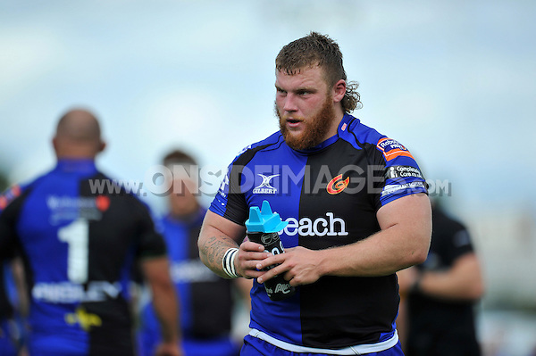 Lloyd Fairbrother looks on during a break in play. Pre-season friendly match, between Bristol Rugby and Newport Gwent Dragons on August 17, 2014 at the Cribbs Causeway Ground in Bristol, England. Photo by: Patrick Khachfe / JMP