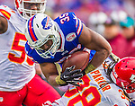 9 November 2014: Buffalo Bills running back Bryce Brown takes a swing pass for a 14-yard gain in the third quarter against the Kansas City Chiefs at Ralph Wilson Stadium in Orchard Park, NY. The Chiefs rallied with two fourth quarter touchdowns to defeat the Bills 17-13. Mandatory Credit: Ed Wolfstein Photo *** RAW (NEF) Image File Available ***