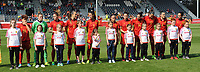 20170408 - EUPEN ,  BELGIUM : Spanish team  pictured during the female soccer game between the Belgian Red Flames and Spain , a friendly game before the European Championship in The Netherlands 2017  , Saturday 8 th April 2017 at Stadion Kehrweg  in Eupen , Belgium. PHOTO SPORTPIX.BE | DIRK VUYLSTEKE
