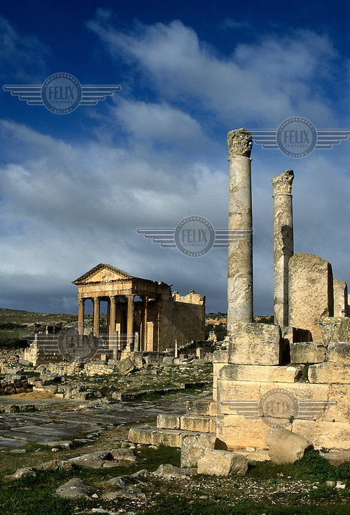 The ruins of Dougga (Thugga), occupied by the Romans in the 2nd Century BC.  It was designated a UNESCO World Heritage Site in 1997.
