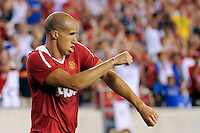 Gabriel Obertan (26) of Manchester United celebrates scoring the game's only goal. Manchester United (EPL) defeated the Philadelphia Union (MLS) 1-0 during an international friendly at Lincoln Financial Field in Philadelphia, PA, on July 21, 2010.