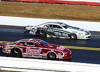 Mar 19, 2017; Gainesville , FL, USA; NHRA pro stock driver Greg Anderson (near) races alongside Matt Hartford during the Gatornationals at Gainesville Raceway. Mandatory Credit: Mark J. Rebilas-USA TODAY Sports