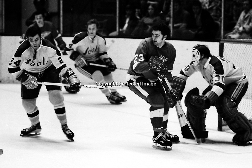 Seals vs Detroit Redwings 1971. Seals #24Bob Boughner and Goalie Chris Worthy ..Red Wing Guy Charron. (photo by Ron Riesterer)