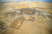 Aerial view of village in remote central plains of Morocco.
