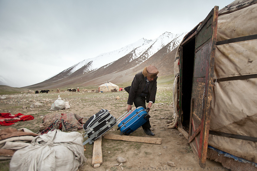 The Khan moving into his summer yurt after building it..Daily life at the Khan (chief) summer camp of Kara Jylga...Trekking through the high altitude plateau of the Little Pamir mountains (average 4200 meters) , where the Afghan Kyrgyz community live all year, on the borders of China, Tajikistan and Pakistan.