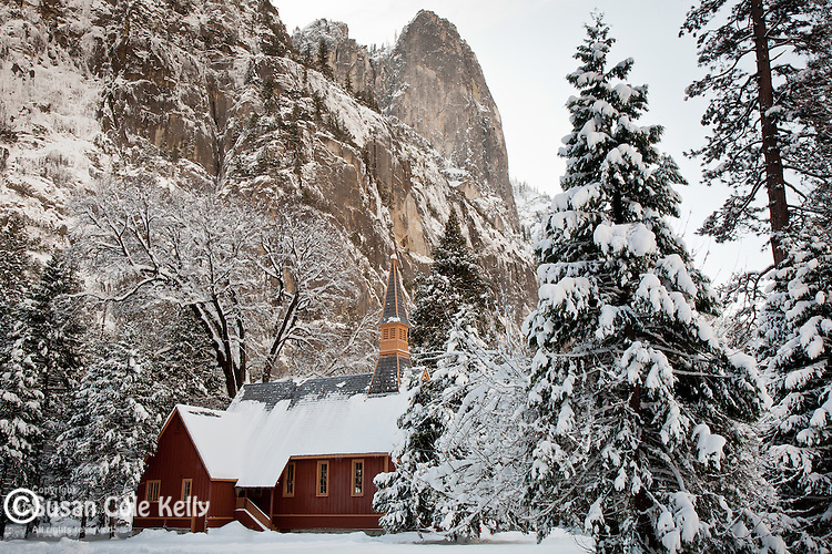 Yosemite Chapel under the Sentinel in Yosemite Valley, Yosemite National Park, CA