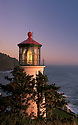 Heceta Head Lighthouse at sunset, Oregon coast.