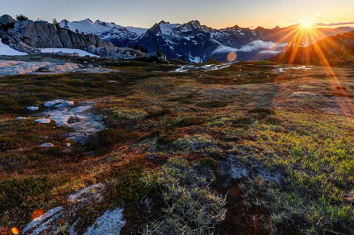 Subalpine meadow in the Wenatchee Mountains, Mount Daniel in background, central Washington Cascade Mountains