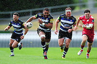 Taulupe Faletau of Bath Rugby goes on the attack. Pre-season friendly match, between the Scarlets and Bath Rugby on August 20, 2016 at Eirias Park in Colwyn Bay, Wales. Photo by: Patrick Khachfe / Onside Images