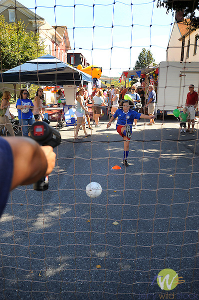 32nd Annual Selinsgrove Market Street Festival. Timed soccer kick speed game.