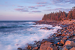 Sunrise surf at Schoodic Point in Acadia National Park, Maine, USA