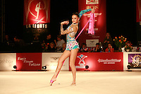 January 21, 2008; Los Angeles, California, USA;  Evgenia Kanaeva of Russia performs with ribbon during All-Around final at 2008 LA Lights tournament.  Photo by Tom Theobald. .