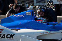 20-21 Febuary, 2012 Birmingham, Alabama USA.Takuma Sato and crew on pit lane.(c)2012 Scott LePage  LAT Photo USA