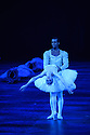 London, UK. 31.05.2016. English National Ballet presents SWAN LAKE in the round at the Royal Albert Hall. Picture shows: Alina Cojocaru (Odette), Osiel Gouneo (Prince Siegfried). Photograph © Jane Hobson.