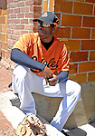 21 May 2007:  Baltimore Orioles outfielder Freddie Bynum watches his teammates from the dugout at Doubleday Field prior to Baseball's Annual Hall of Fame Game in Cooperstown, NY. The Orioles defeated the visiting Toronto Blue Jays 13-7...Mandatory Credit: Ed Wolfstein Photo