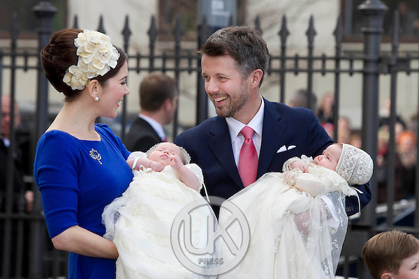 Crown Princess Mary and Crown Prince Frederik of Denmark at The Christening of their Twins, at Holmens Church, Copenhagen..The twins were christened, Prince Vincent Frederik Minik Alexander and Princess Josephine Sophia Ivalo Mathilda