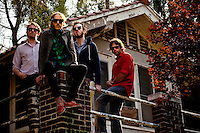 Los Angeles, Calif., April 26, 2009 - From left, Lewis Nicolas Pesacov,  Matt Popieluch, Ariel Rechtshaid and Garrett Ray of the band Foreign Born in front of an abandoned home in Elysian Park in Los Angeles.