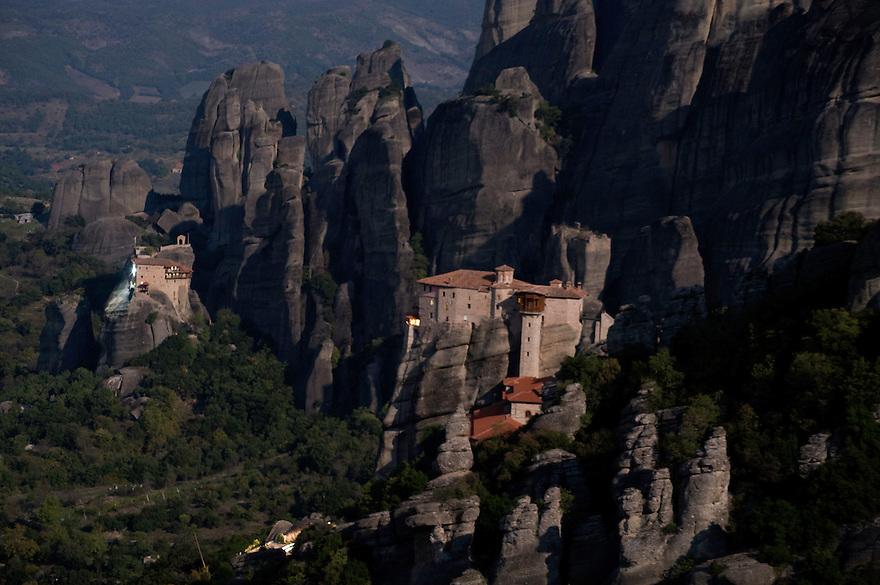 Greece, Meteora, Roussanou Monastery in moonlight, Agios Nikolaos (St, Nicholas) Anapafsas Monastery in background