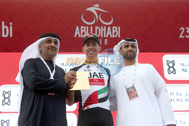 Rui Coata (POR) UAE Abu Dhabi team wins Stage 3 Al Maryah Island Stage of the 2017 Abu Dhabi Tour, starting at Al Ain and running 186km to the mountain top finish at Jebel Hafeet, Abu Dhabi. 25th February 2017<br /> Picture: ANSA/Matteo Bazzi | Newsfile<br /> <br /> <br /> All photos usage must carry mandatory copyright credit (&copy; Newsfile | ANSA)