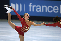 Tatiana Totmianina and Maxim Marinin of Russia skate on way to winning gold in pairs figure skating at the Trophee Eric Bompard competition in Paris, France, November 19, 2005.  (Photo/Tom Theobald)
