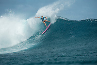 Namotu Island, Fiji (Monday, June 1, 2015) Bianca Buitendag (ZAF) - The Fiji Women&rsquo;s Pro, Stop No. 5 on the 2015 World Championship Tour, has called on this morning with a building swell.<br /> The event was put on hold till 9.30 am to take advantage of the dropping tide and once the water was coming off the reef it got underway.<br /> <br /> The surf was in the 4' range early with light winds and built to around 6' as the tide started pushing around midday. Round 1 was completed today.  Photo: joliphotos.com