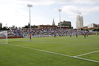 View of main stand at Hermann Stadium..Kansas City Wizards and Atlas (Mexico) played to a 0-0 tie at Robert R Hermann Stadium, on the campus of Saint Louis University, St Louis , Missouri.