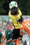 19 August 2009: Hope Solo (1) of Saint Louis Athletica pulls a ball out of the air inside the box.  Saint Louis Athletica was defeated by the visiting Sky Blue FC 0-1 in the post season Super Semifinal Women's Professional  Soccer game at Anheuser-Busch Soccer Park, in Fenton, MO.