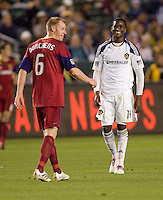 LA Galaxy forward Edson Buddle (14) and Real Salt Lake defender Nat Borchers (6) have a laugh. The LA Galaxy defeated Real Salt Lake 2-1 at Home Depot Center stadium in Carson, California on Saturday April 17, 2010.  .