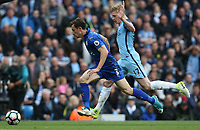 Leicester City's Ben Chilwell and Manchester City's Kevin De Bruyne<br /> <br /> Photographer Stephen White/CameraSport<br /> <br /> The Premier League - Manchester City v Leicester City - Saturday 13th May 2017 - Etihad Stadium - Manchester<br /> <br /> World Copyright &copy; 2017 CameraSport. All rights reserved. 43 Linden Ave. Countesthorpe. Leicester. England. LE8 5PG - Tel: +44 (0) 116 277 4147 - admin@camerasport.com - www.camerasport.com
