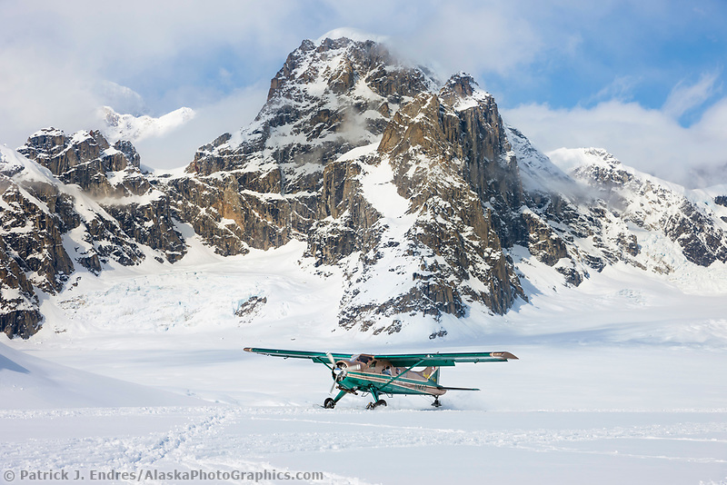 Bush plane on the Ruth glacier, Alaska Range mountains, Alaska.