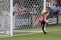 DC United goalkeeper Troy Perking (23) dives on a penalty kick.  DC United defeated AC. Milan 3-2 at RFK Stadium, Wednesday May 26, 2010.