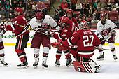 Mike Graham (SLU - 4), Adam Fox (Harvard - 18), Drew Smolcynski (SLU - 17), Eric Sweetman (SLU - 2), Kyle Hayton (SLU - 27), Tyler Moy (Harvard - 2) - The Harvard University Crimson defeated the St. Lawrence University Saints 6-3 (EN) to clinch the ECAC playoffs first seed and a share in the regular season championship on senior night, Saturday, February 25, 2017, at Bright-Landry Hockey Center in Boston, Massachusetts.