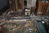 New  York, New York.September 10, 2011..Views of Ground Zero on the eve of the 10th anniversary of 9-11-2001. Looking down on Greenwich Street.
