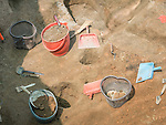 Digging and shifting for artifacts at the Vinča culture site, Vinča-Belo Brdo, near Belgrad, Serbia.<br /> <br /> Occupied since 7000 BC the site sits on the right bank of the Reka Dunav on a loess slope.