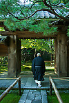 Japanese Monk at Daitokuji  - The schools of Zen that currently exist in Japan are the Soto, Rinzai, and Obaku. In the year 1410 a Zen Buddhist monk from Nanzenji, a large temple complex in Kyoto wrote out a landscape poem and had a painting done of the scene described by the poem. Then, following the prevailing custom of his day, he gathered responses to the images by asking prominent fellow monks and government officials to inscribe it, thereby creating a shigajiku poem and painting scroll. Such scrolls emerged as a preeminent form of elite Japanese culture in the last two decades of the fourteenth century, a golden age in the phenomenon now known as Japanese Zen culture