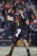 College Park, MD - October 22, 2016: Maryland Terrapins quarterback Perry Hills (11) attempts a pass during game between Michigan St. and Maryland at  Capital One Field at Maryland Stadium in College Park, MD.  (Photo by Elliott Brown/Media Images International)