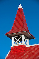 Mauritius. Roof detail of the church by the sea at Cap Malheureux.