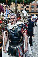 Roma 21  Aprile 2013.Corteo storico con costumi da legionari centurioni, gladiatori, vestali e senatori dell'Antica Roma per festeggiare la citta' di Roma che compie 2766 anni. Federico Mollicone Presidente della Commissione cultura, sport, politiche giovanili, comunicazione e toponomastica di Roma capitale.Rome, Italy. 21nd April 2013 -- People dressed as soldiers of the ancient Rome during a parade marking the 2,766th birthday anniversary of Rome.
