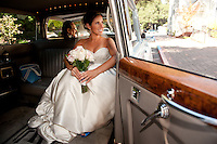 A bride waits in to marry at the Church of the Nativity, Menlo Park, CA.