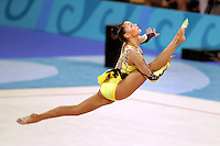 August 29, 2004; Athens, Greece; Rhythmic gymnastic star ALINA KABAEVA of Russia (here split leap clubs toss) won gold in All-Around competition at 2004 Athens Olympics.<br />