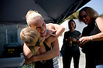 Sophie Farnham, 14, congratulates her cousin Lauren Kovanda, 11, after getting a part in the Sacramento Ballet's Nutcracker production on Sunday, September 10, 2006. Farnham also got a part during an earlier audition. (Photo by Max Whittaker)