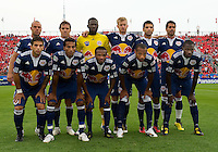 21 August 2010: The New York Red Bulls starting eleven during a game between the New York Red Bulls and Toronto FC at BMO Field in Toronto..The New York Red Bulls won 4-1.
