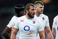Chris Robshaw of England rallies his fellow forwards. RBS Six Nations match between France and England on March 19, 2016 at the Stade de France in Paris, France. Photo by: Patrick Khachfe / Onside Images