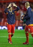 LIVERPOOL, ENGLAND - Thursday, October 4, 2012: Liverpool's Nuri Sahin warms-up before the UEFA Europa League Group A match against Udinese Calcio at Anfield. (Pic by David Rawcliffe/Propaganda)