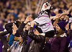 A Washington Huskies fan holds a stuffed Husky during their 2017 unset win over the 7th ranked Oregon State Beavers at CenturyLink Field in Seattle, Washington on October 27, 2012.  ©2012. Jim Bryant Photo. ALL RIGHTS RESERVED.