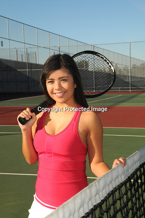Stock photo of Asian Female Tennis Player