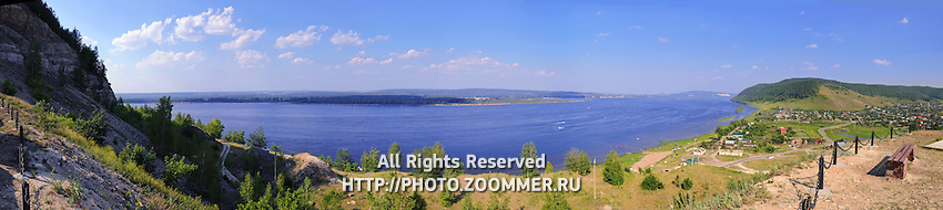 """Panorama of Volga river in summer, as seen from the Zhiguli mountains of the National Park """"Samara Luka"""""""